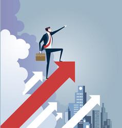 Businessman standing on arrow sign leadership vector