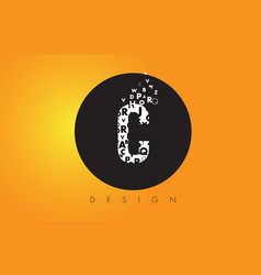 C logo made of small letters with black circle vector