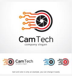 camera tech logo template design vector image