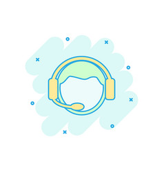 Cartoon operator with microphone icon in comic vector