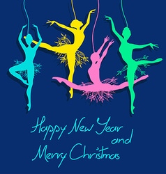 Christmas and New Year card with ballet dancers vector
