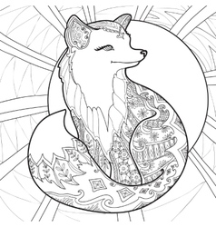 Coloring page with fox vector