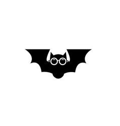 Creative black geometric bat cartoon logo vector