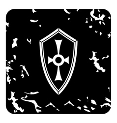 Cross shield icon grunge style vector