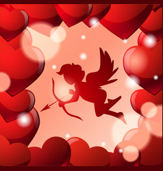 cute cupid silhouette in frame of red heart shapes vector image
