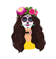 Day dead girl vector