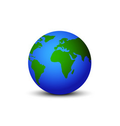 earth globe with shadow on blank background vector image