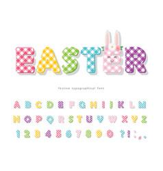 easter plaid font colorful textile alphabet cute vector image