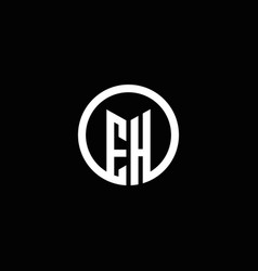 eh monogram logo isolated with a rotating circle vector image