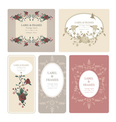 elegant antique vintage style labels with vector image