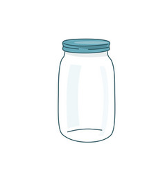empty glass jar with lid cap vector image