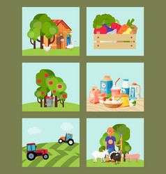 farming set of cards vector image