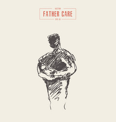Father baarms parent care drawn sketch vector