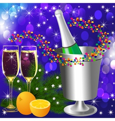 festive background with wine goblet and orange vector image