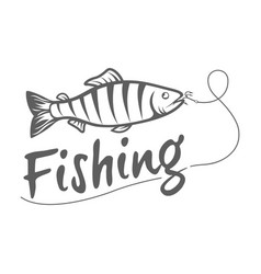 Fishing logo isolated on a dark background vector