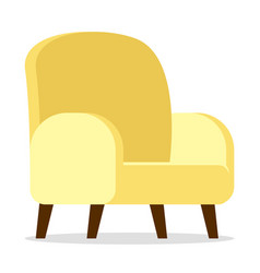 flat cartoon upholstery yellow armchair with legs vector image