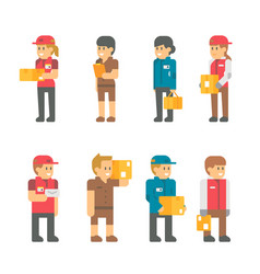 Flat design delivery messenger staffs vector