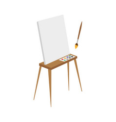 flat easel with paints canvas and brush vector image