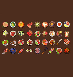Flat set of delicious dishes and snacks vector