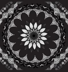 floral greek seamless mandala pattern black and vector image