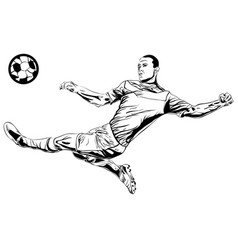 football soccer player sketch with ball isolated vector image