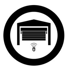 Garage door icon black color in circle vector