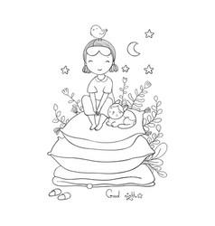 Girl and cats good night sweet dreams vector