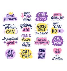Girl power letterings motivational feminist vector