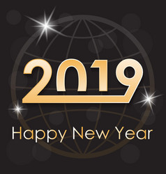 Greeting card for the new year 2019 on a dark vector