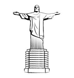 Grunge cristo religion statue history sculpture vector