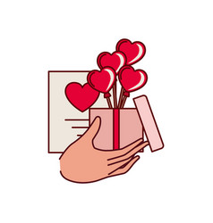hand with box and gift list isolated icon vector image
