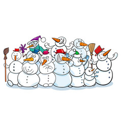 happy snowmen group cartoon vector image