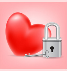 heart with a key and lock on pink background vector image