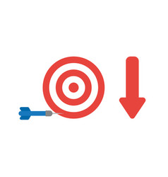 icon concept of bulls eye and dart miss the vector image