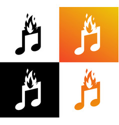 icon of musical burning note fire and symbol of vector image