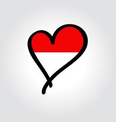 Indonesian flag heart-shaped hand drawn logo vector
