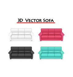 Isolated 3d sofa on white background art vector