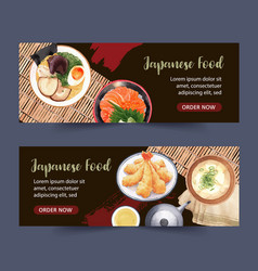 Japanese food for banner creative with watercolor vector