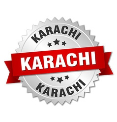 Karachi round silver badge with red ribbon vector