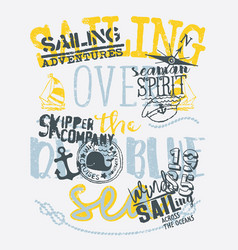 Kid skipper company sailing adventure vector