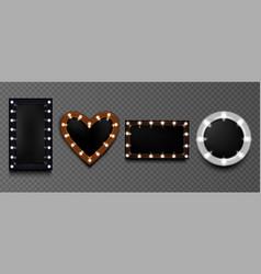 light bulb frames retro makeup mirrors for artist vector image