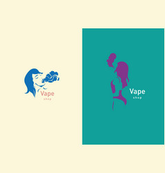 Logo for vape shop girl with the electronic vector