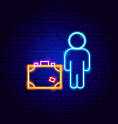 Man with baggage neon sign vector