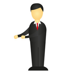 man with black suit isolated over white vector image
