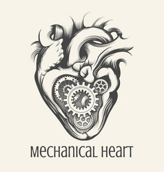 Mechanical heart retro vector