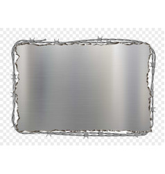 metal plate with barbed wire vector image