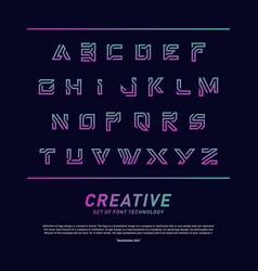 modern font technology and alphabet design vector image