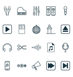 Music icons set with bullhorn dance club mike vector