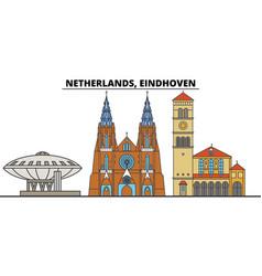 netherlands eindhoven city skyline architecture vector image
