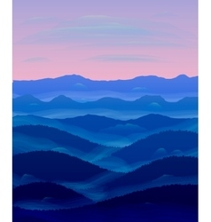 Panorama of hills sunset mist vector